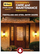 entry door homeowner's care and maintenance instructions entry doors