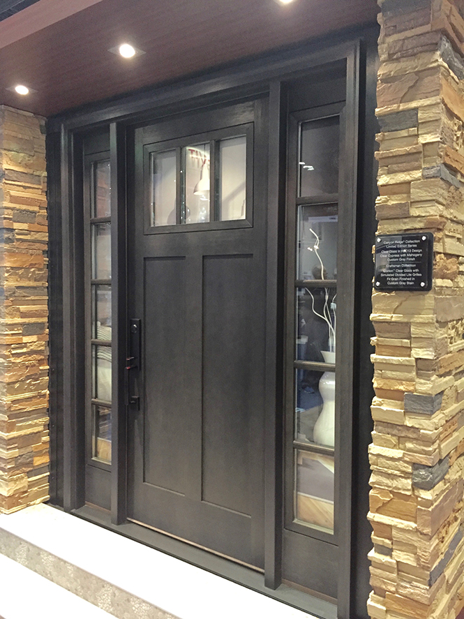 Craftsman Collection entry door with custom gray finish