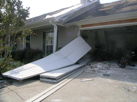 Blown out garage doors by a hurricane