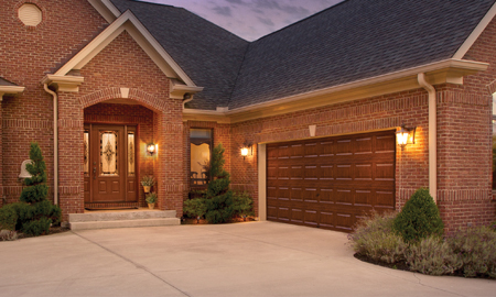 At First Glance, These Garage Doors Appear To Be Made Of Stained Cherry Wood,  But In Reality They Feature Ultra Grain, A Durable, Natural Looking, ...