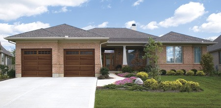 Clopay Classic Wood Model 44 Series Long Raised Panel Garage Door With  Stockton Long Windows.