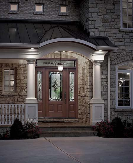 Clopay Arbor Grove Collection Stained Fiberglass Entry Door With Addison  Decorative Glass, Sidelites And Transom.