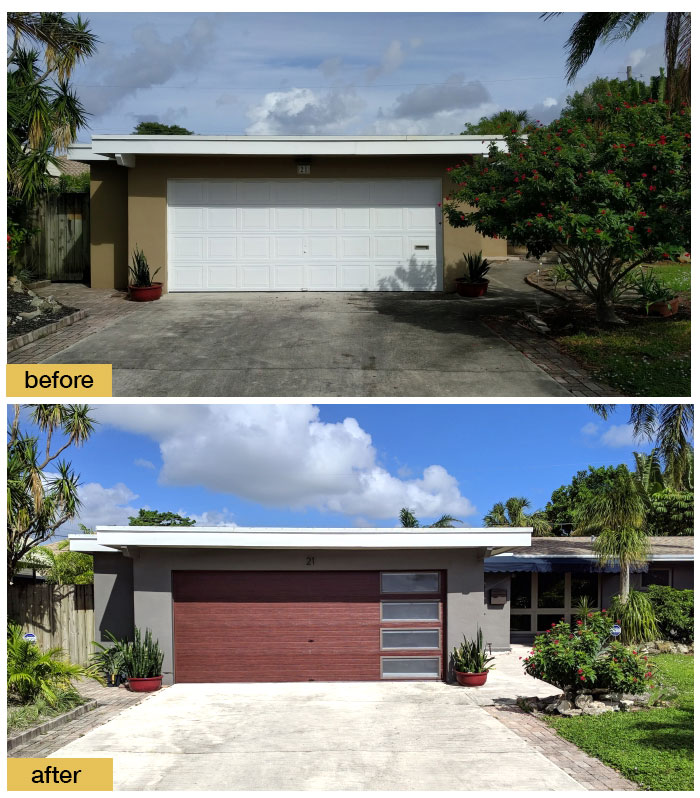 January 2018 Garage Door Makeover Before & After Photo