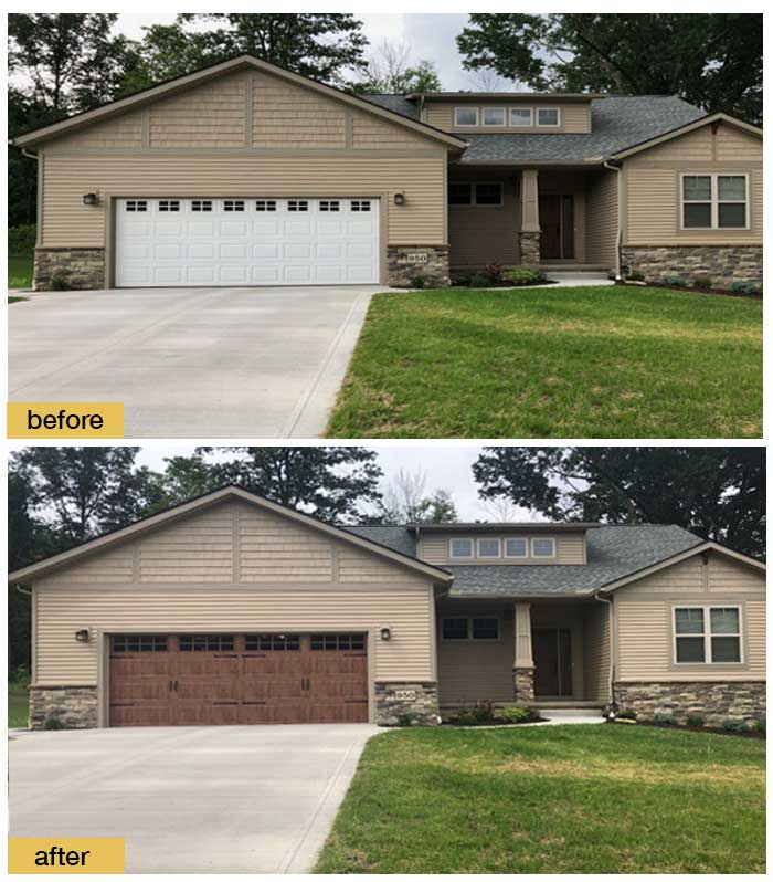 October 2018 Garage Door Makeover Before & After Photo