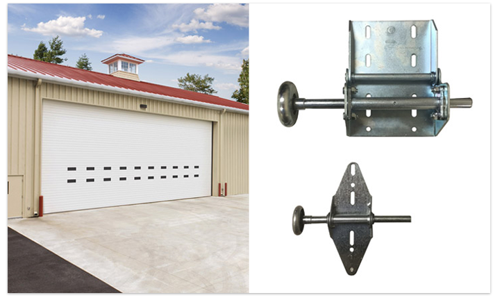 Split visual of a 40 foot wide garage door on the left, and heavy duty hardware on the right