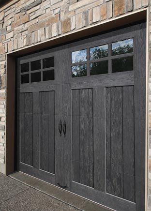 Asian style entry and garage doors