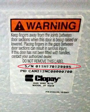 Clopay Garage Door Serial Number