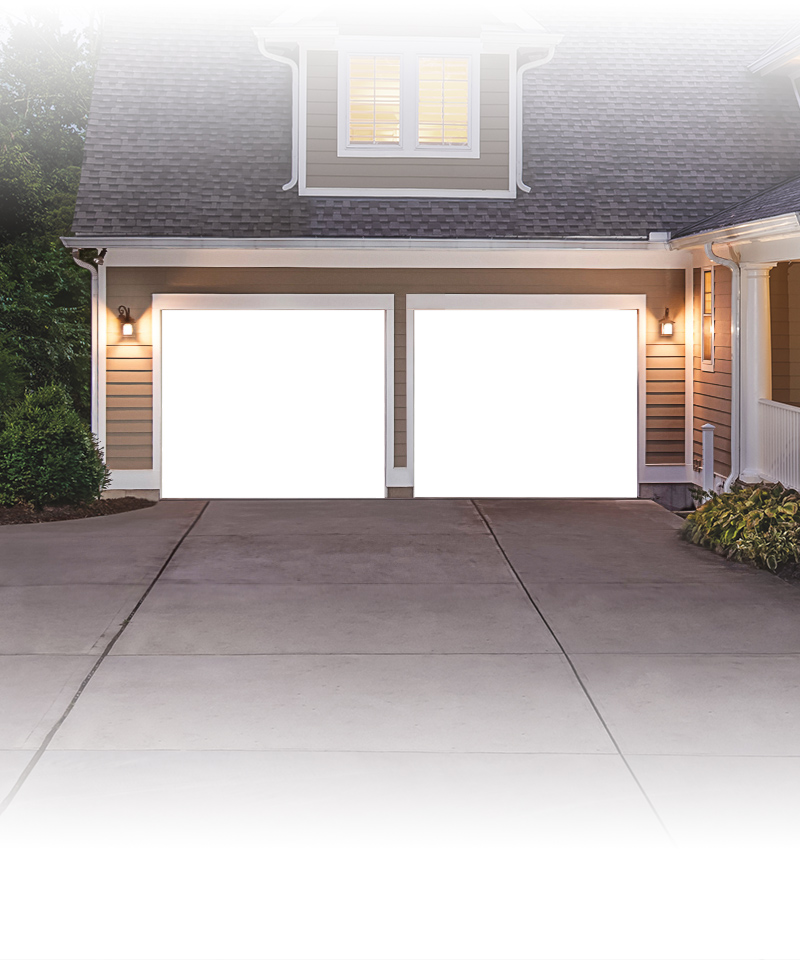 Home with Blank White Garage Doors